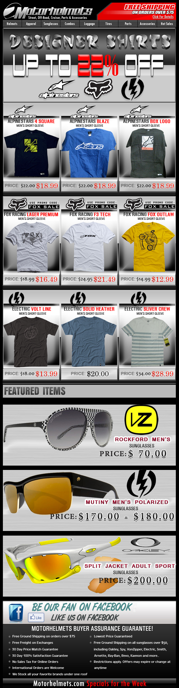 Save up to 22% off on Select Premium Tees from Alpinestars, Fox and Electric!