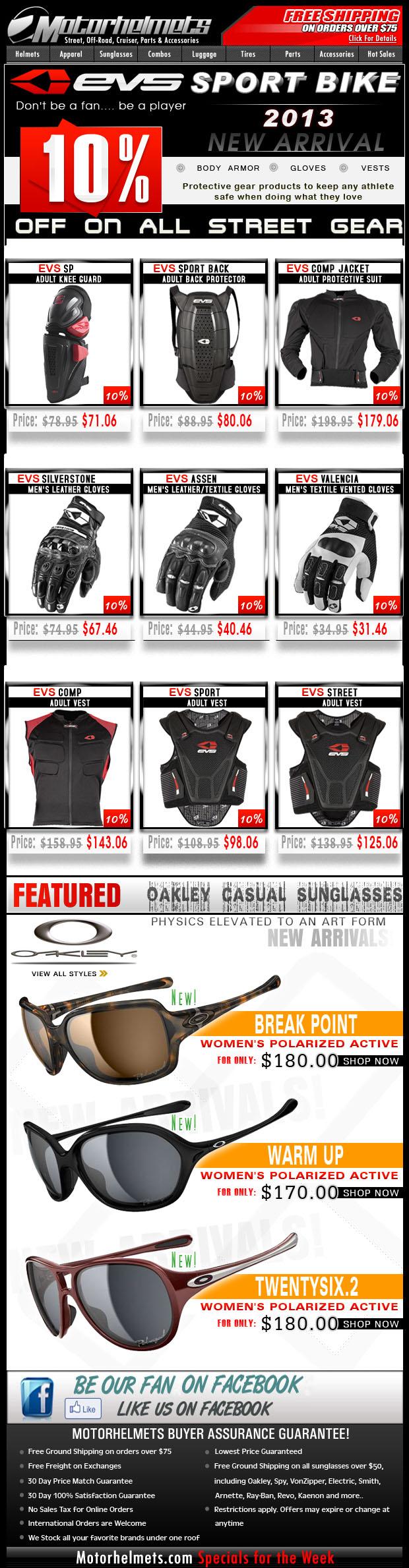 NEW ARRIVALS: EVS Street Gloves, Armor, Vests + Oakley Women's Polarized Glasses