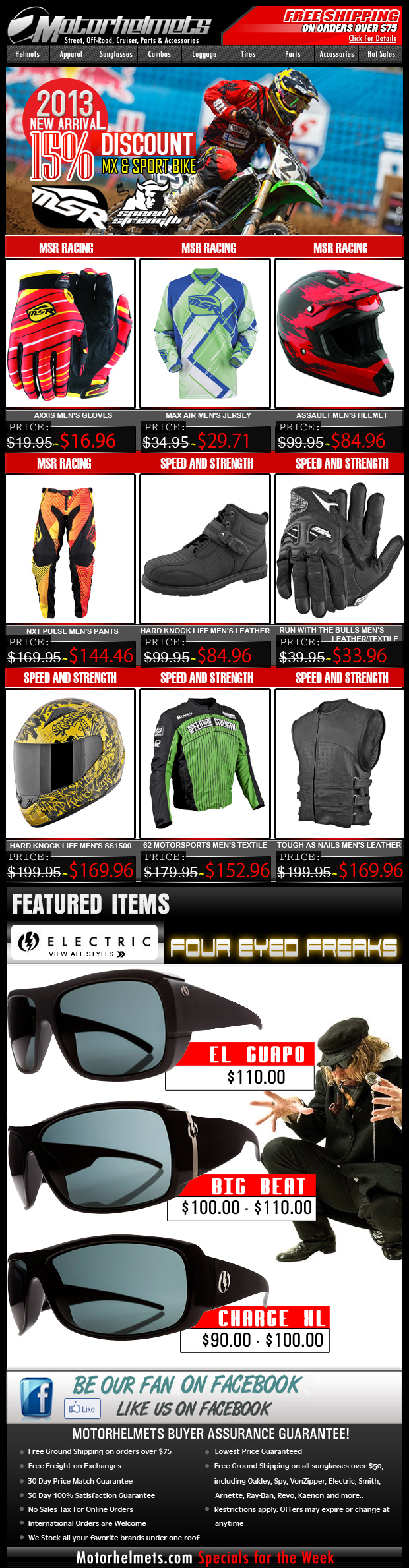 Holiday Specials...Up to 15% off on MSR and Speed & Strength Gear!