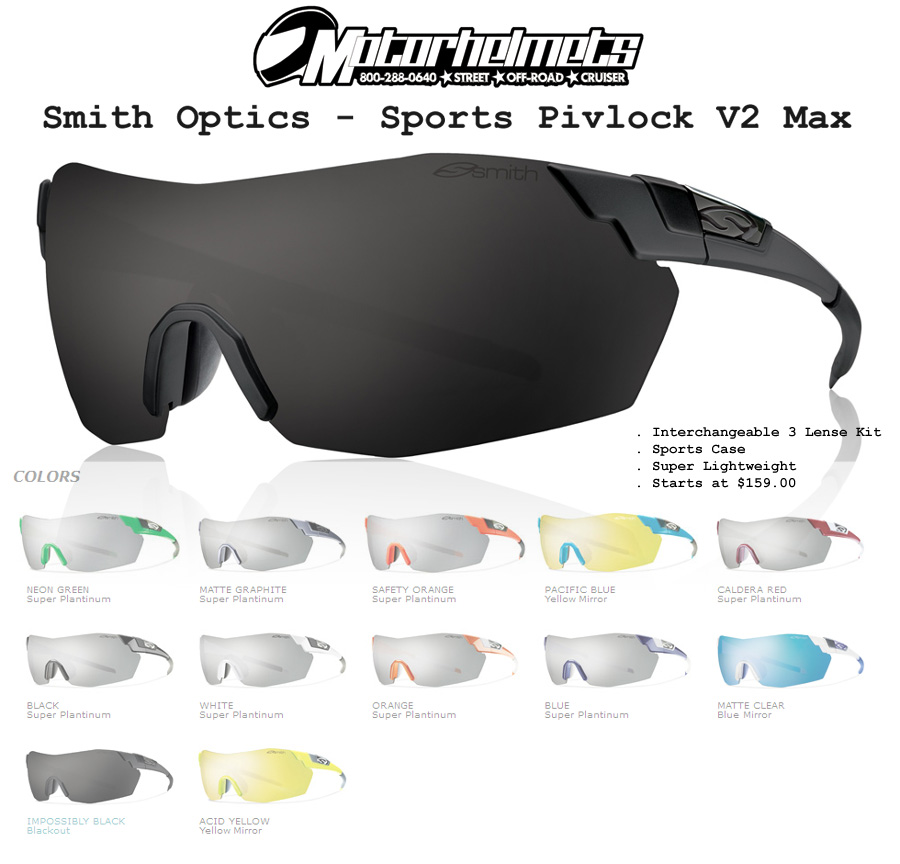 adfd3629a4d Smith Optics Sports Pivlock V2 Max Sunglasses – Motorhelmets Library ...