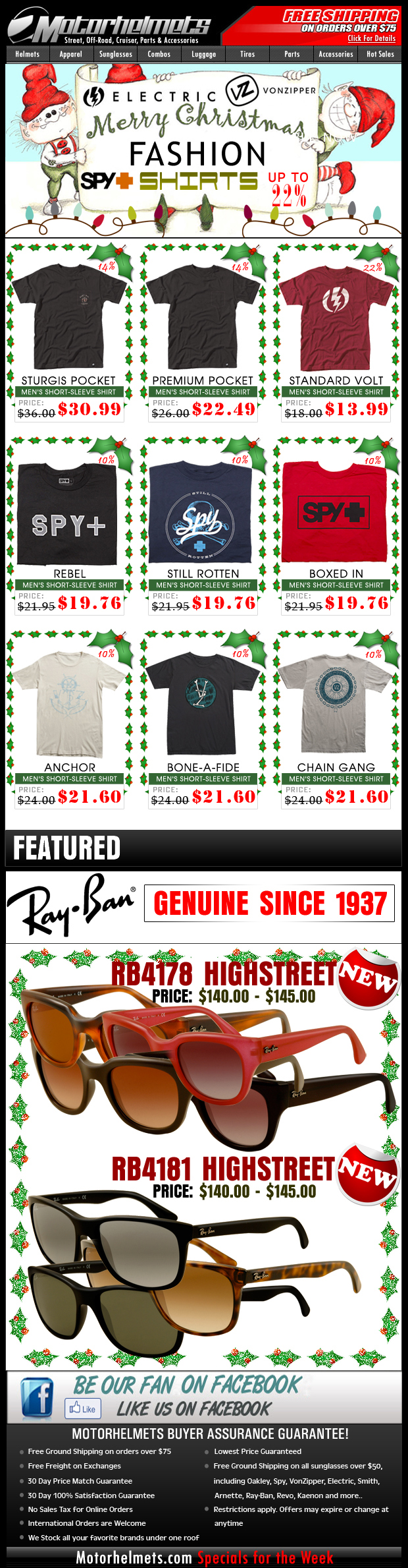 Holiday Specials from Electric, Spy and VZ...up to 22% off on Selected Premium Tees!