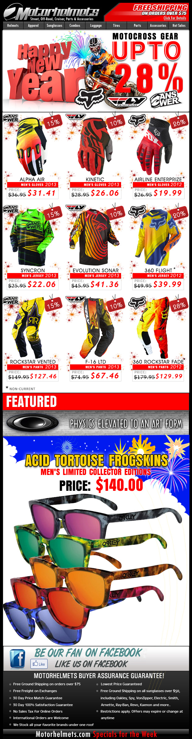Start 2013 with a BANG with DISCOUNTS on Premium Gear from Fox, Fly and Answer!