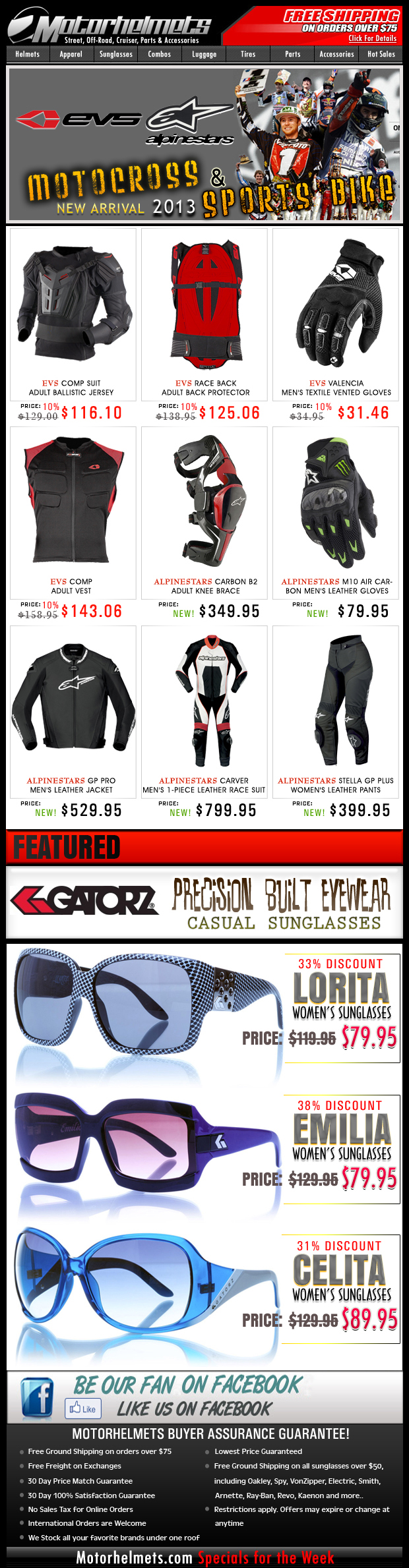 New Arrival Motorcycle Gear from EVS/Alpinestars + Gatorz Eyewear Closeouts!
