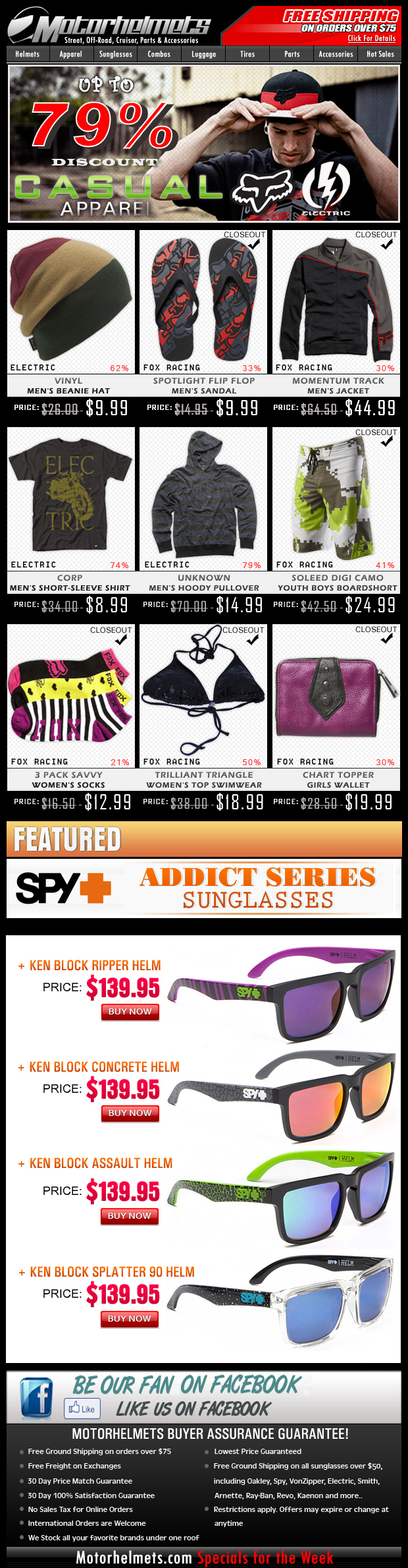 Electric & Fox Closeouts...save up to 79% off!