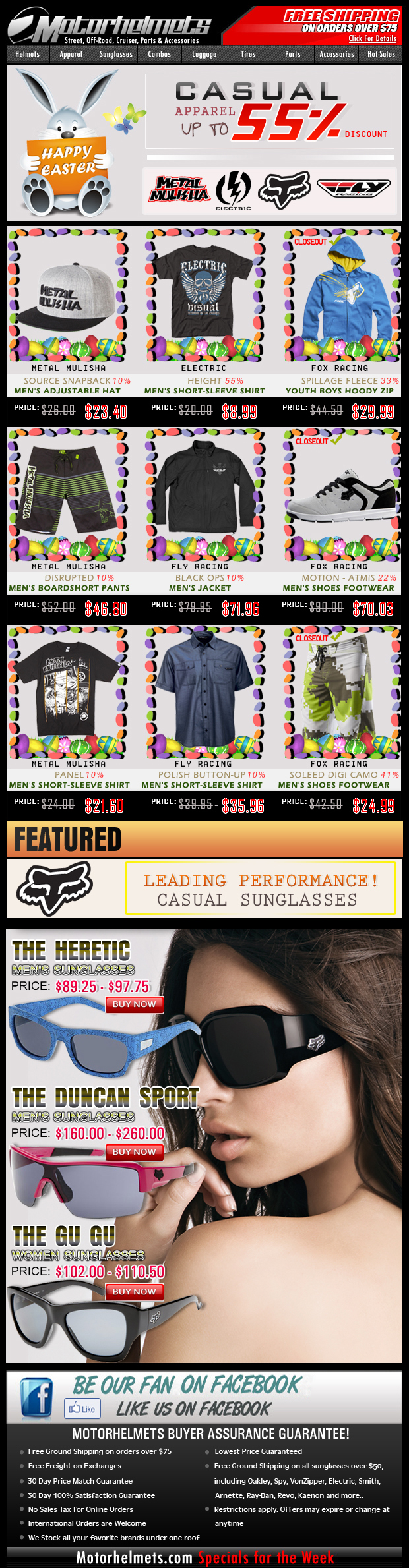 Easter Specials...save up to 55% off on Fox, Fly, Electric and Metal Mulisha Casuals!