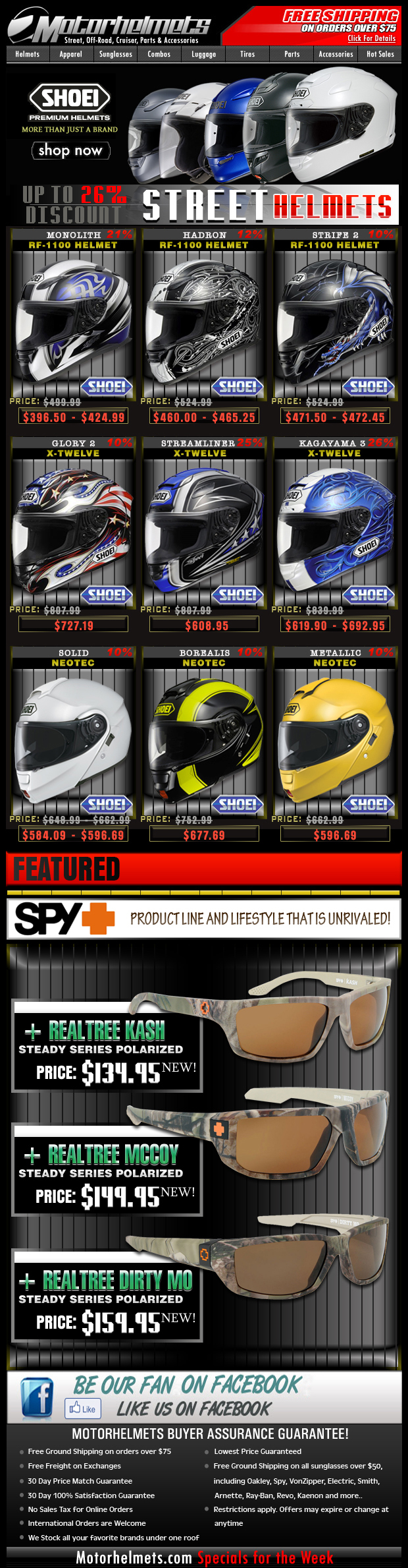 Shoei Spring Sale...up to 26% Off on Street Helmets!