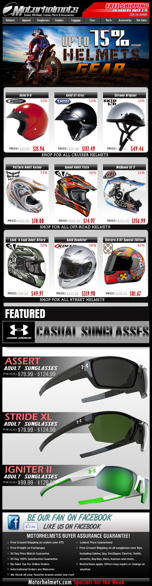 Helmet Specials...Save up to 75% Off on Closeouts from Shoei, TLD and more!