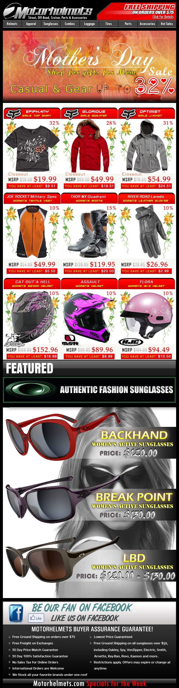 Mother's Day Specials...Up to 32% Off on Premium Items from Fox, MSR, HJC and more!