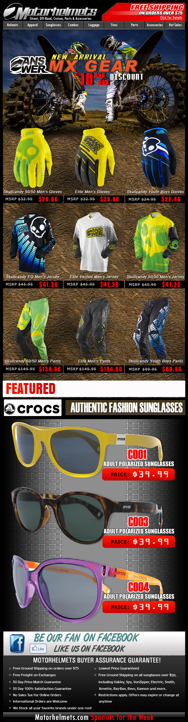 NEW SPRING MX Gear from Answer Racing: the SKULLCANDY & ELITE line!