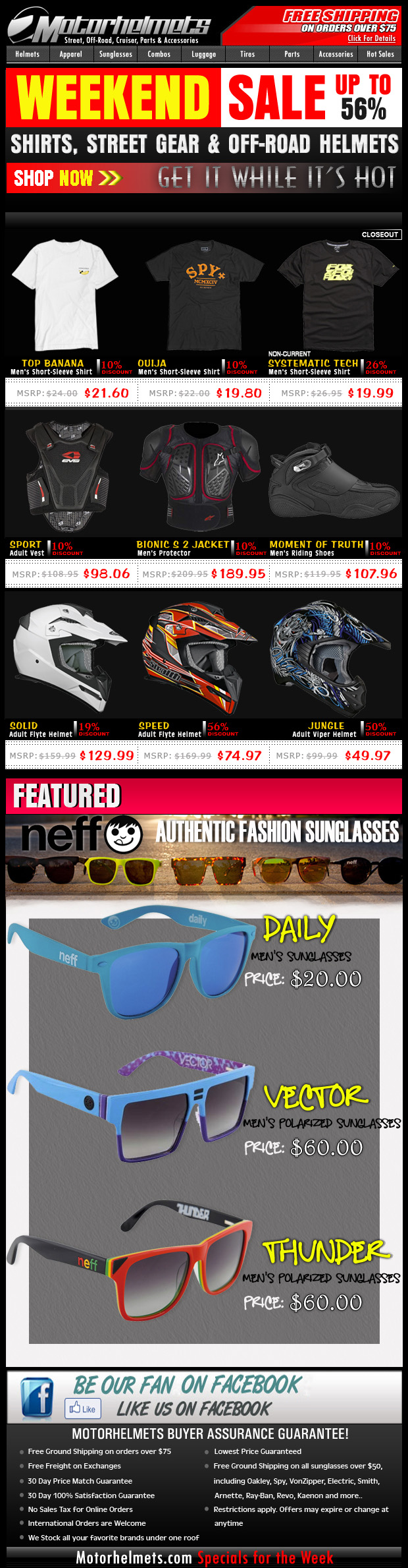 Weekend Sale...up to 56% off on Selected Premium Items from FOX, Spy, VZ and more!