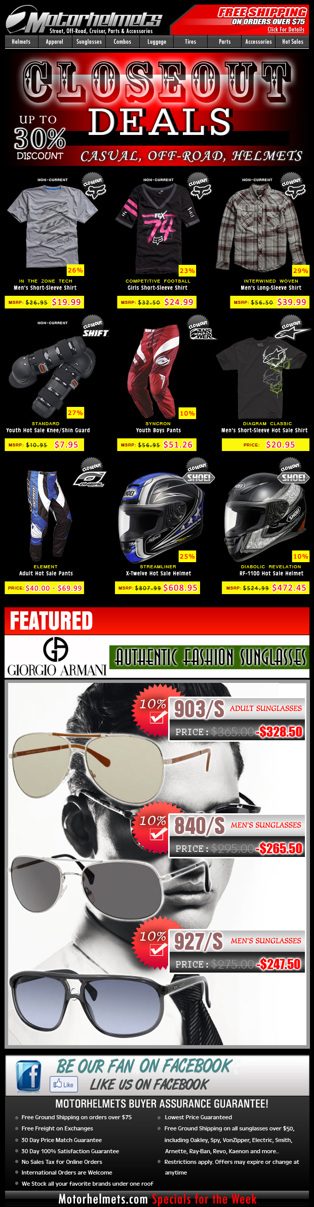 Save up to 30% off on Premium Closeouts from Fox, Shoei, O'Neal, and more!