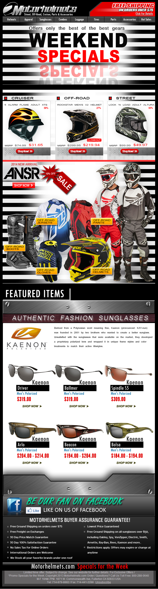 Gear-Fever...Closeout Helmets from FOX & Vega + New Arrivals from Answer!