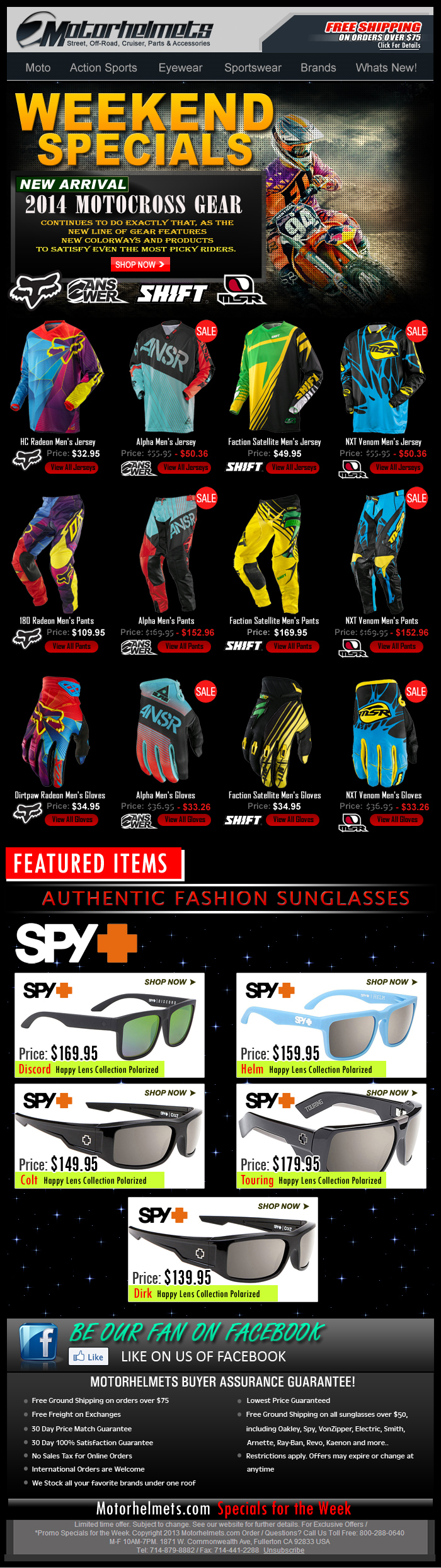 Weekend Specials - More 2014 Gear from FOX, Answer, Shift and MSR!