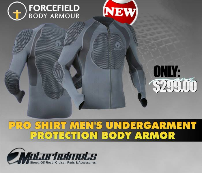Product Ad Poster:  Forcefield Pro Shirt Men's Undergarment Protection and Body Armor