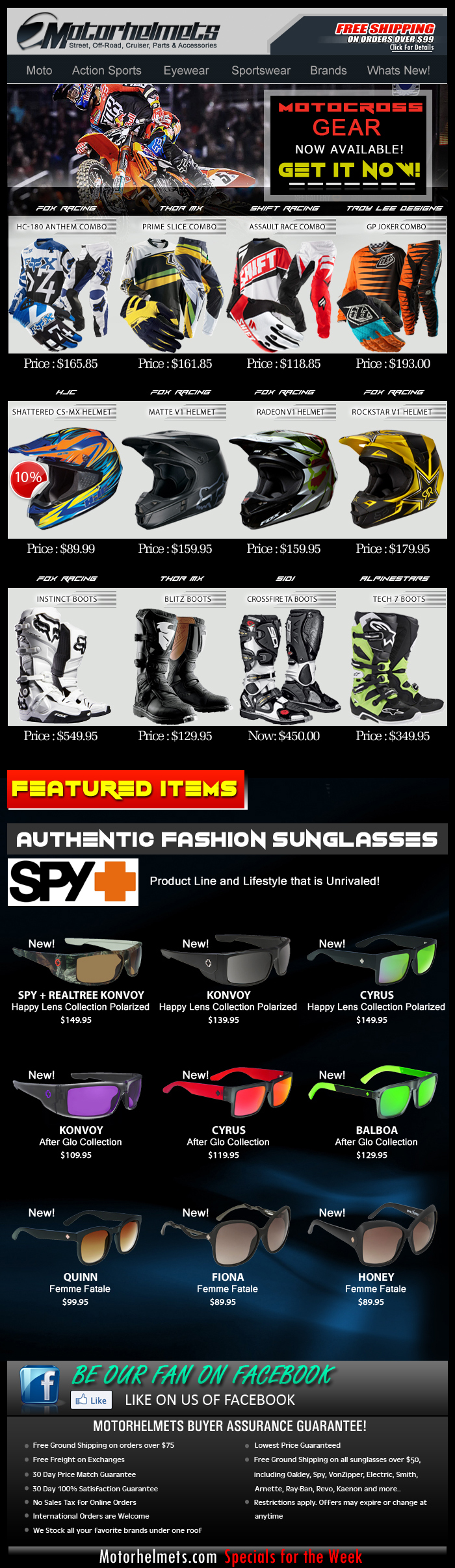 New Arrivals...Fresh Motocross Gear Selection from Fox, Thor MX, Shift, TLD and more!