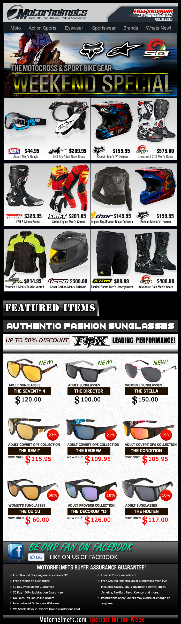 Weekend Specials...Premium Gear Selection from FOX, A-Stars, Scorpion and more!