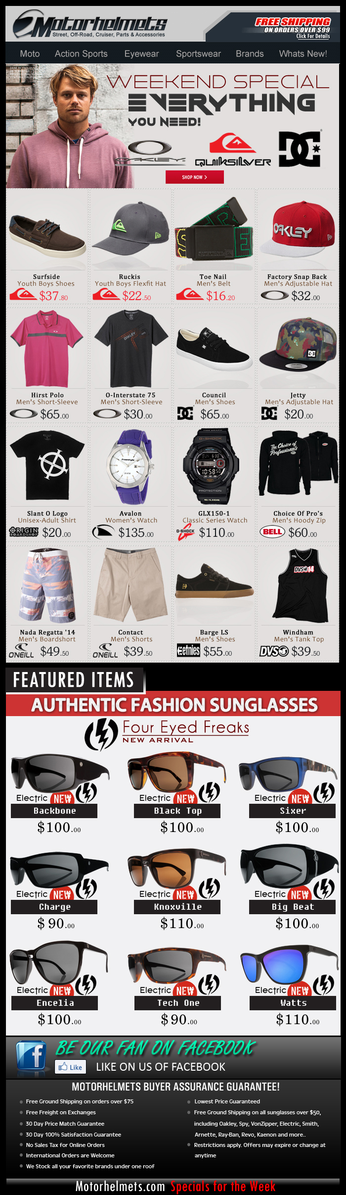 Sportswear New Arrivals from Oakley, DC, Quiksilver, O'Neill and more!