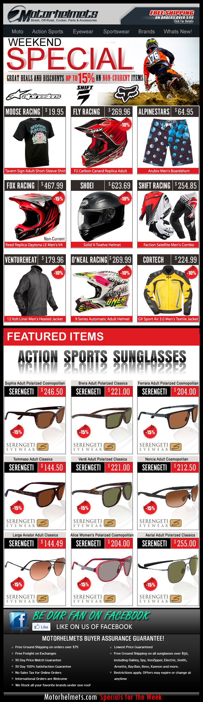 Up to 15% Off on Closeout Gear & Apparel from FOX, Fly, Shoei and more!