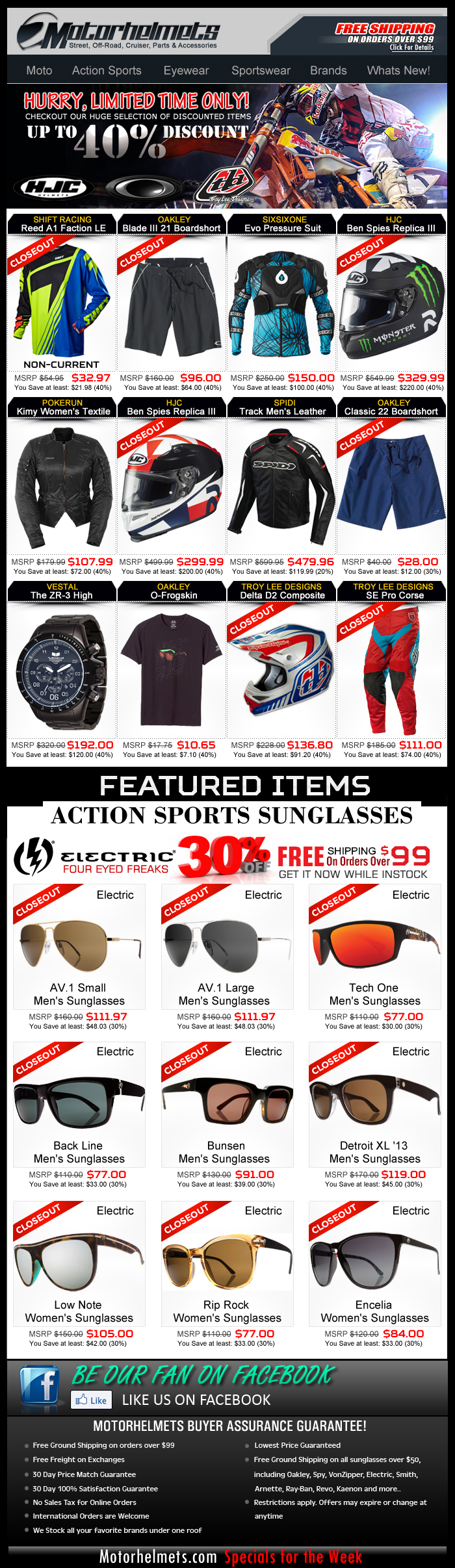 Up to 40% OFF on HJC, Oakley and TLD Gear and Apparel!
