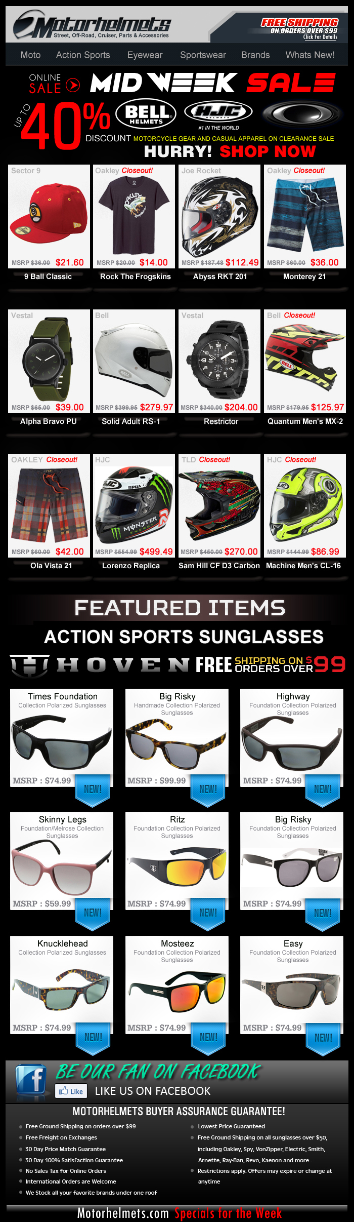 Get Up to 40% Discount on Bell, HJC and Oakley Gear and Apparel...Limited Stocks Only!