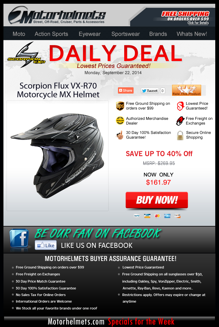 Up to 40% discount on the Scorpion FLUX Helmet...until supplies last!