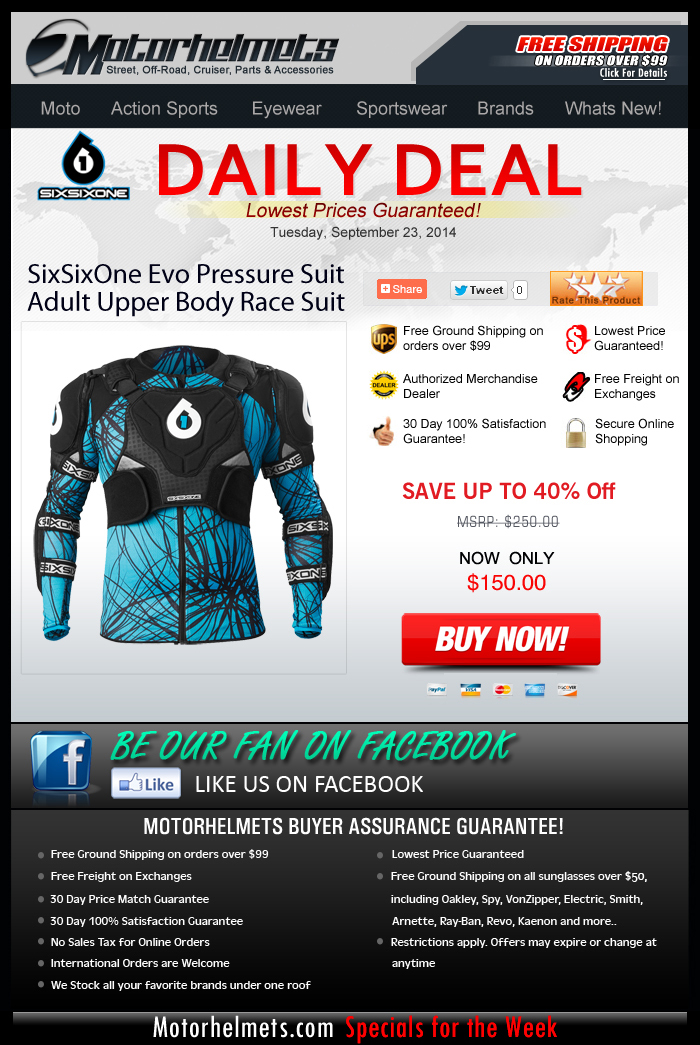 Today's DEAL - $100 off on SixSixOne's Evo Pressure Suit!