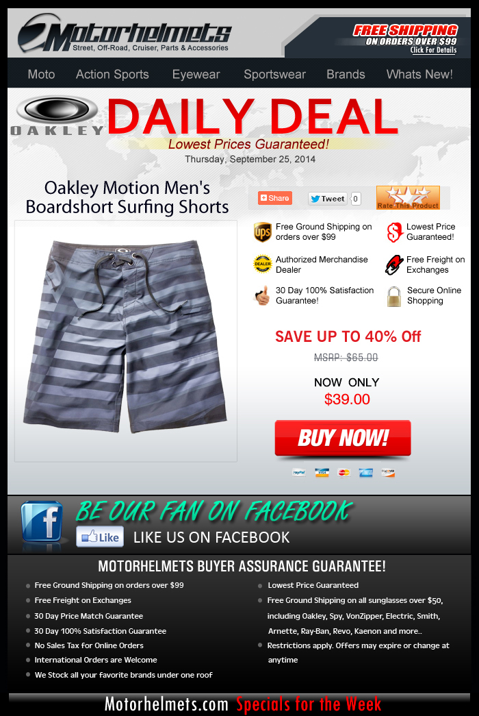 Today's Deal...Oakley Boardshorts for Only $39!