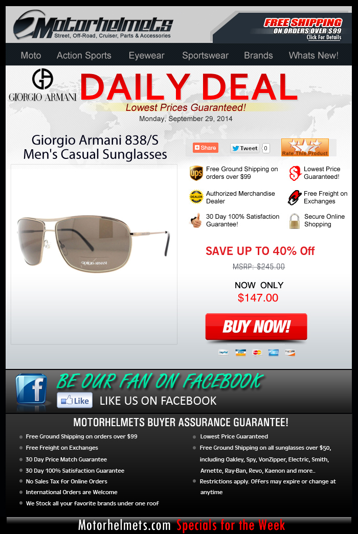 Up to 40% Savings on a Giorgio Armani Eyewear!