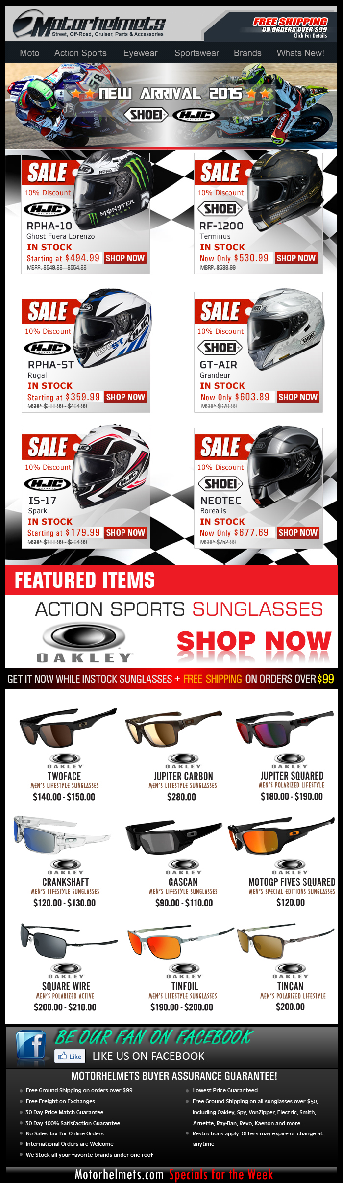 Just In...SHOEI and HJC 2015 Helmets at 10% off!