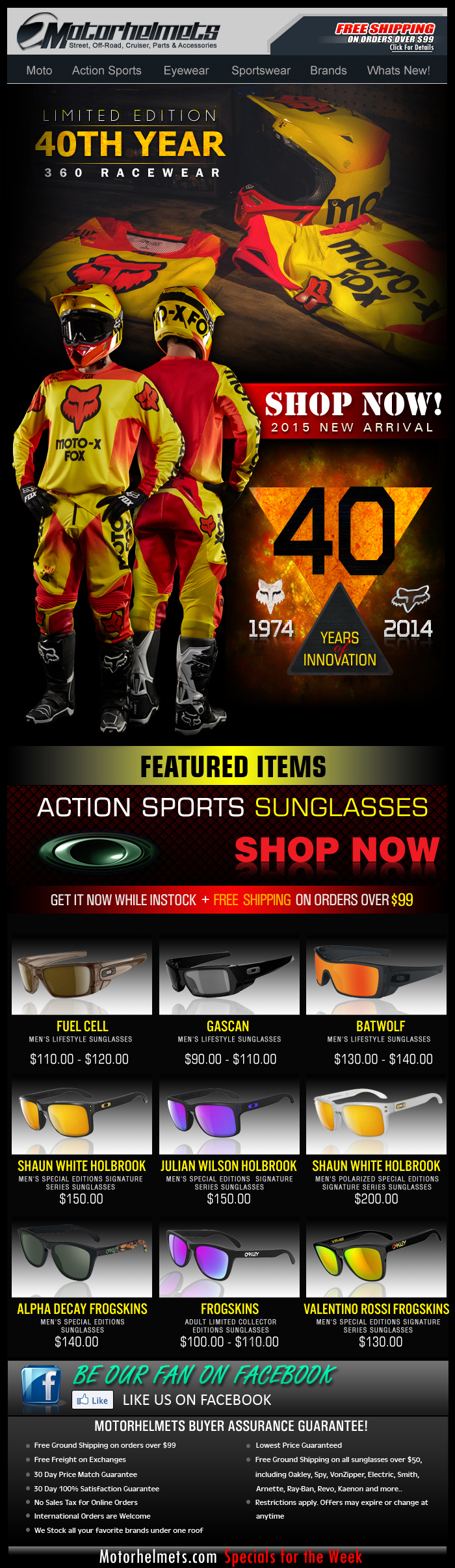 FOX 40th Anniversary LE Release Racewear...Available NOW!