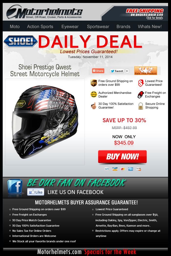Complete your QWEST...Save 30% on Shoei's Prestige Helmet!