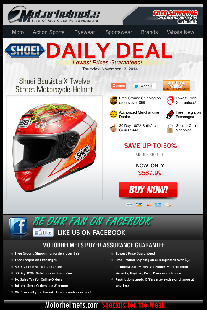 Take 30% off the Shoei Bautista X-12 Helmet, Limited Stocks Only!