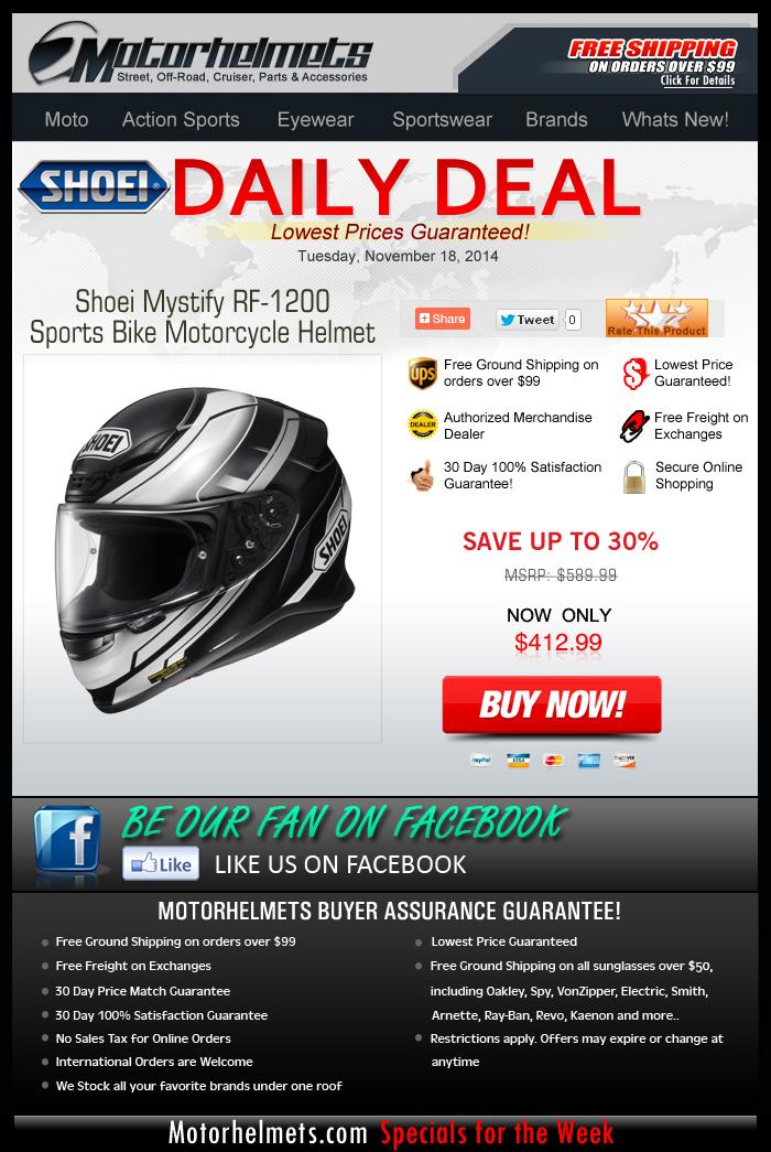 Get 30% Off + Free Shipping on the Shoei Mystify RF-1200 Helmet!