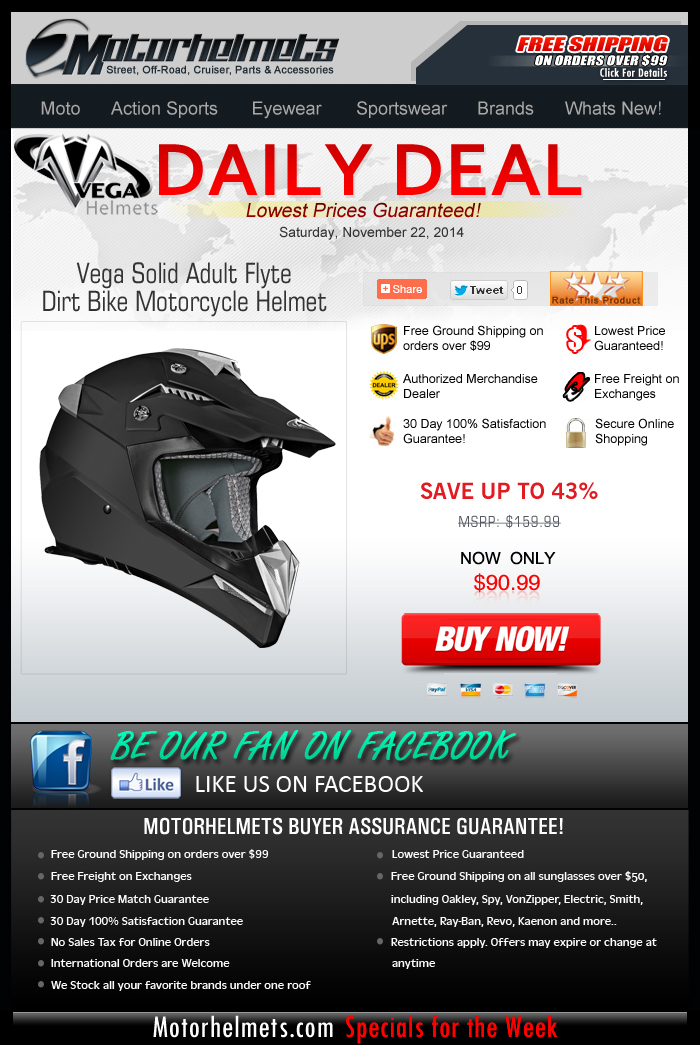 Take Flyte with a Vega MX Helmet, now only $90.99!