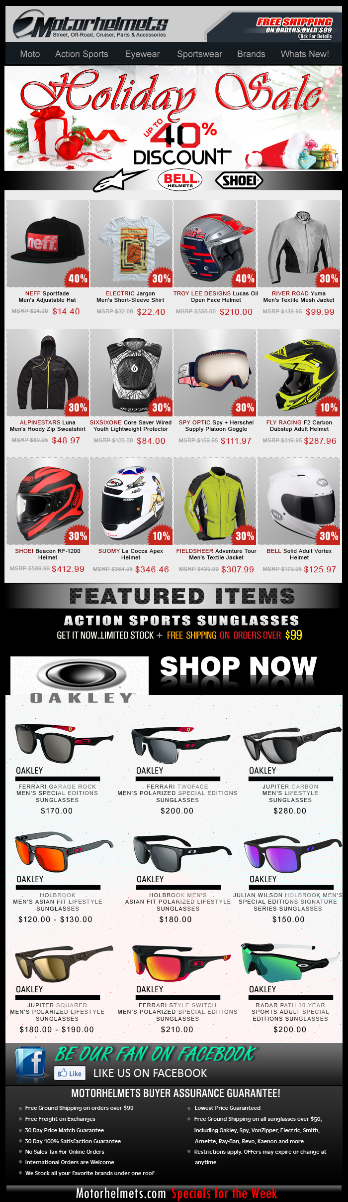 Holiday SALE continues...Up to 40% off on Astars, Bell, Shoei and more!