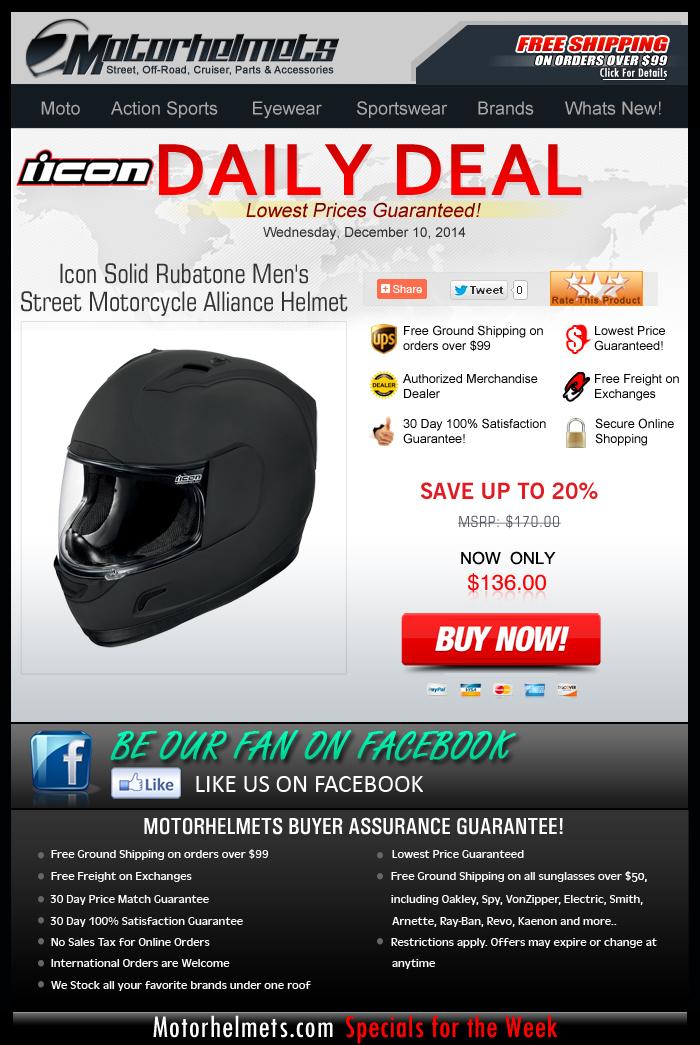 Savings of Up to 20% on Icon's Rubatone Alliance Helmet!