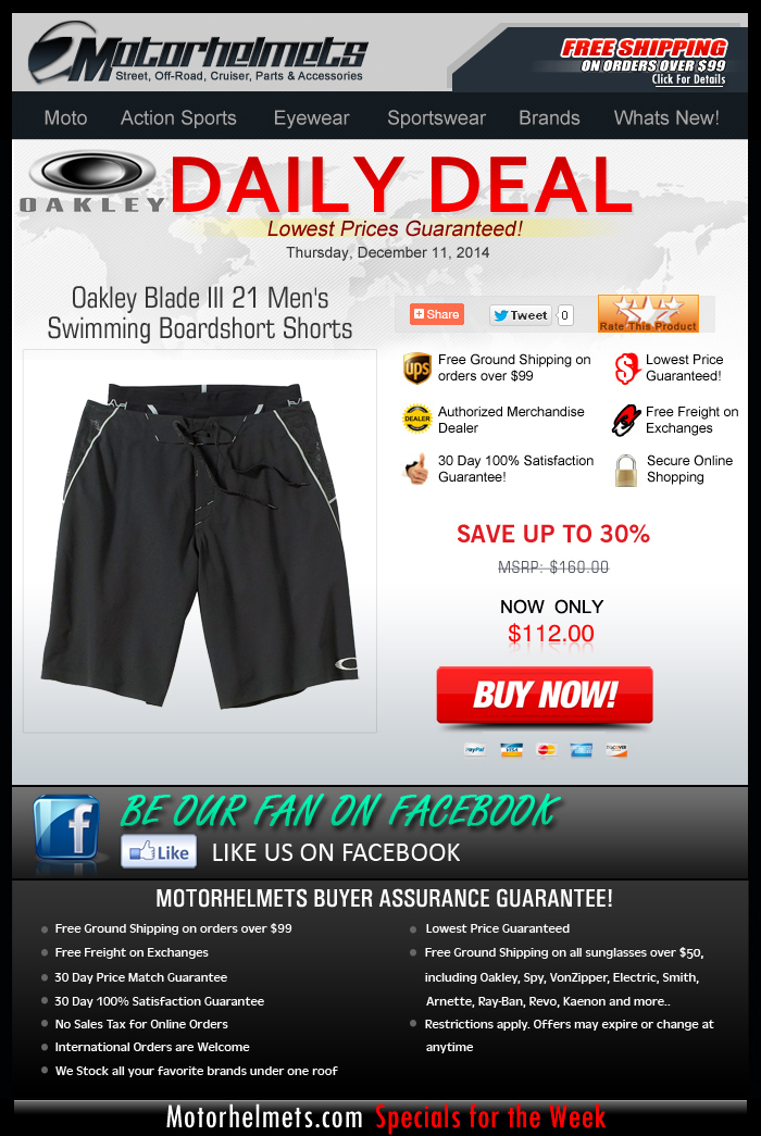 Get 30% off on the Oakley Blade 3 Boardshort!