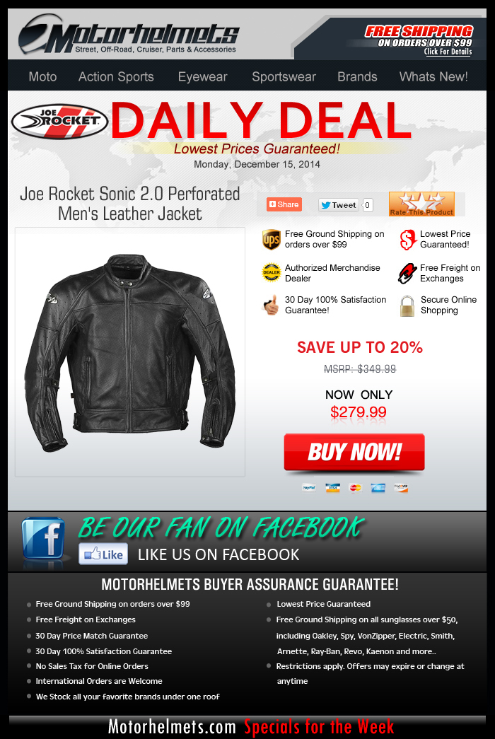 Monday's DEAL: $70 off Joe Rocket's Sonic 2.0 Leather Jacket!