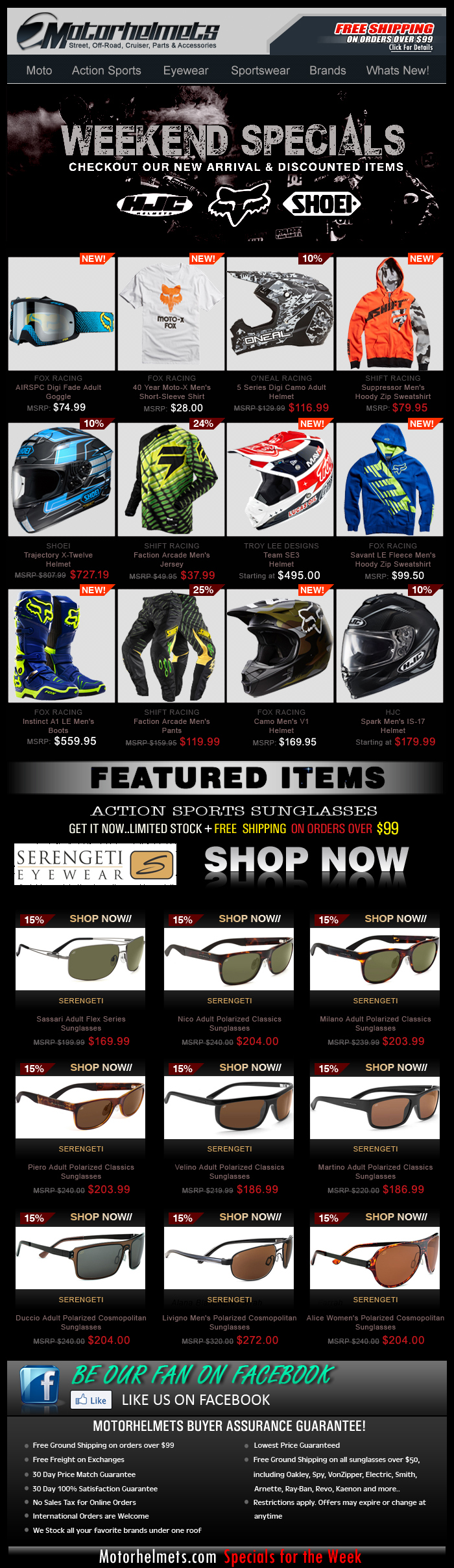 Weekend Specials, Featuring New and Discounted FOX, Shift and More Premium Items!