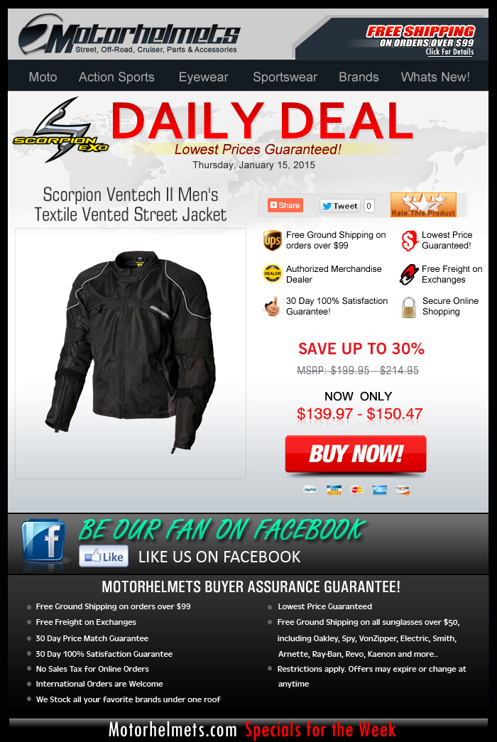 Thursday's Deal saves you $60 on a Scorpion Jacket!
