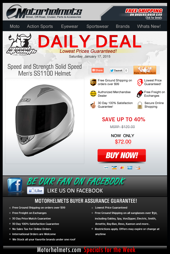 Up to 40% Discount on the S&S Speed SS1100 Helmet!