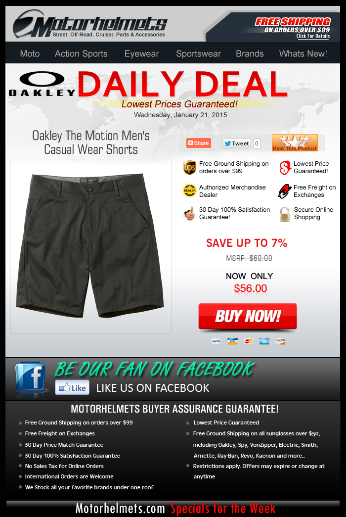 Oakley Premium Shorts for only $56!