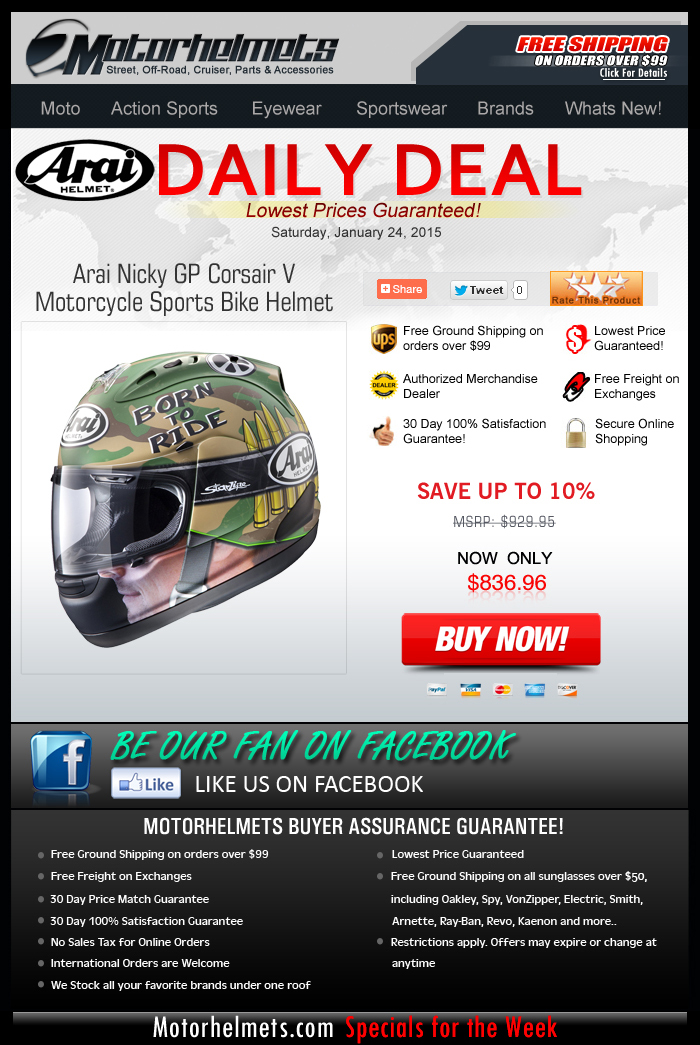 Save $90 on Arai's Nicky GP Corsair V Helmet!