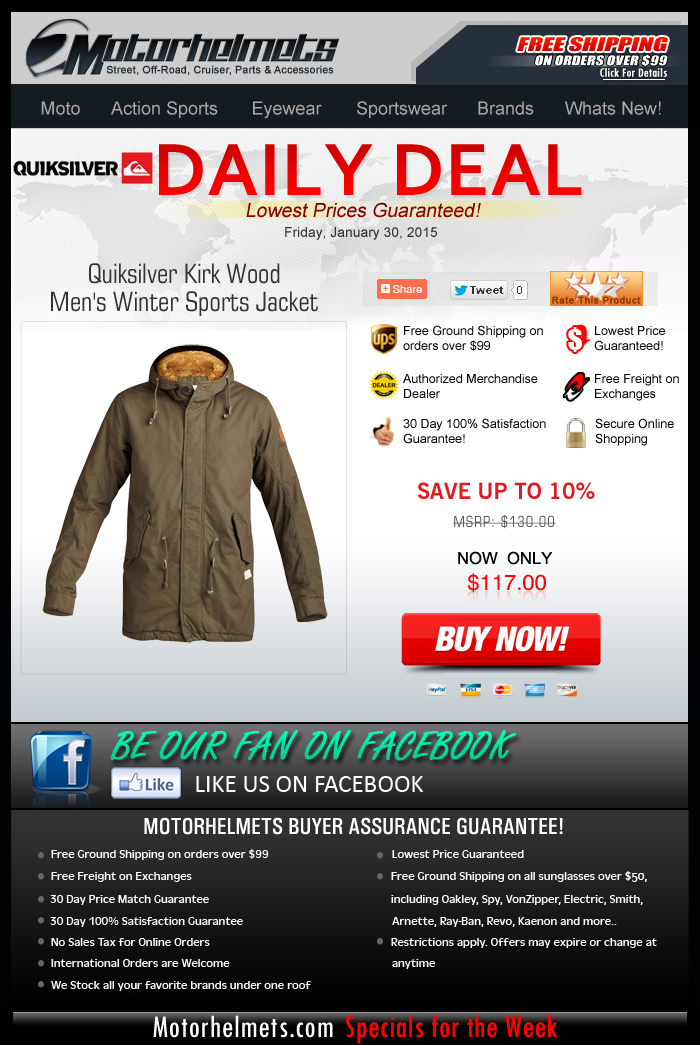 Save 10% and Get Free Shipping on Quiksilver Jackets!