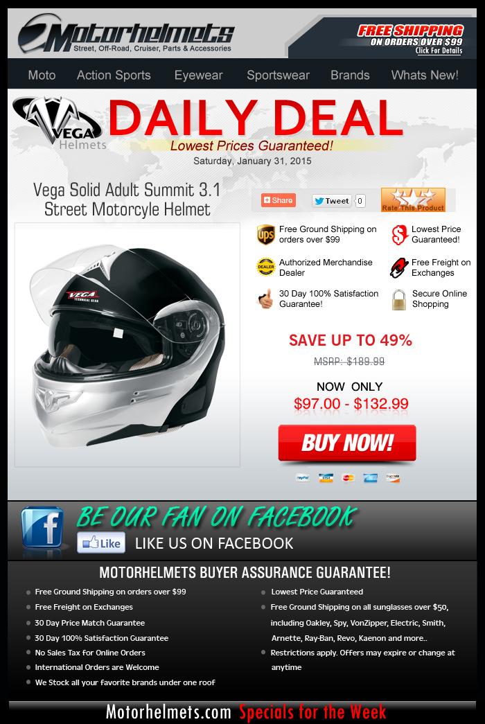 Saturday Special: 50% Discount on the Vega Summit 3.1 Helmet!