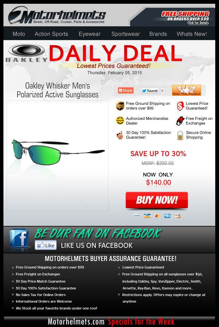 Thursday Specials: Save $60 on Oakley Whiskers!