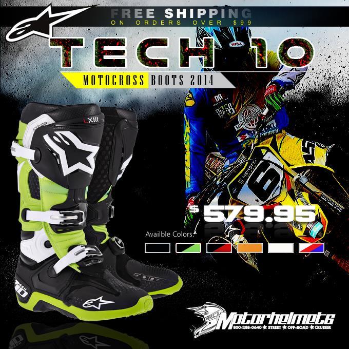 2014 Alpinestars Tech 10 Men's Motocross Boots