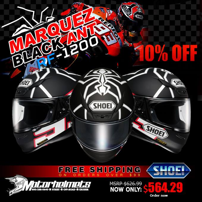 Shoei Marquez Black Ant RF-1200 Sports Racing Motorcycle Helmets