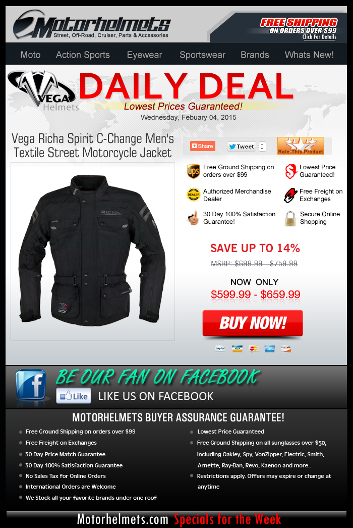 Midweek Special: $100 off Vega Jackets!