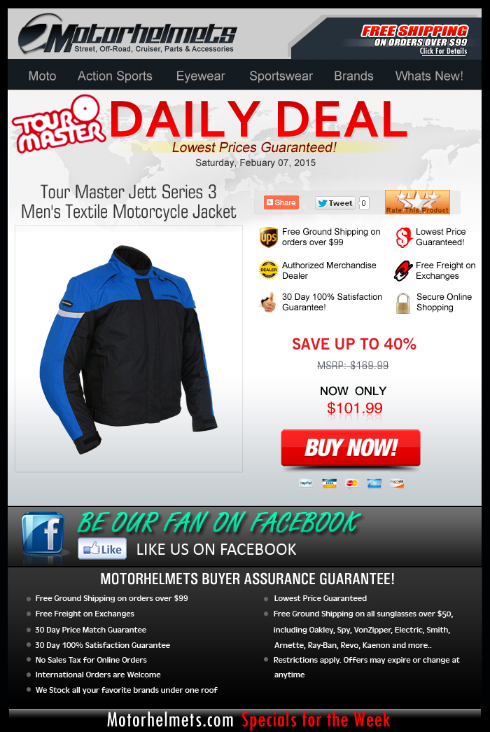 Saturday Deal: Tour Master Jett Series 3 Textile Jacket at 40% Off!